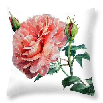 Pink Rose Odette  Throw Pillow