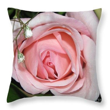 Pink Rose Petals Throw Pillow by Margaret Newcomb