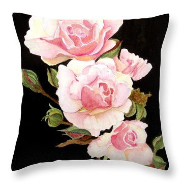 Pink Rose Spray Throw Pillow