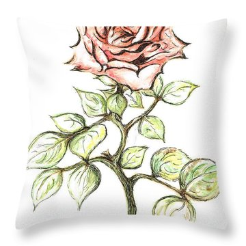 Pink Rose Throw Pillow by Teresa White