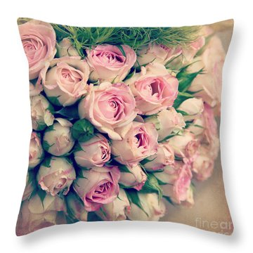 Pink Rosebuds Old Photo Throw Pillow