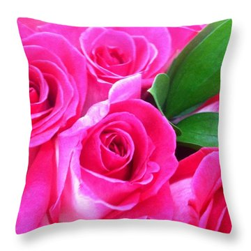 Throw Pillow featuring the photograph Pink Roses by Alohi Fujimoto