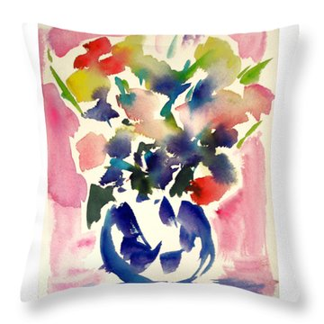 Pink Roses In A Blue Vase Throw Pillow by Tolere