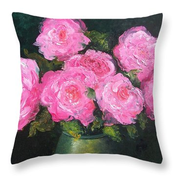 Pink Roses In A Brass Vase Throw Pillow by Jan Matson