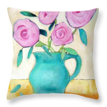 Pink Roses In A Green Vase Throw Pillow by Venus