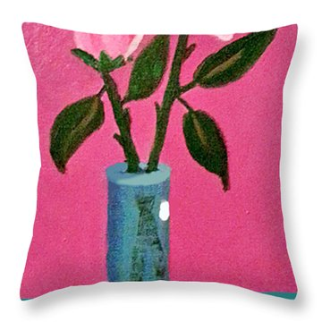 Pink Roses In Vase Throw Pillow