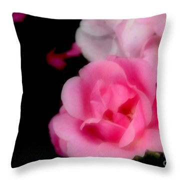 Pink Roses Throw Pillow by Kathleen Struckle