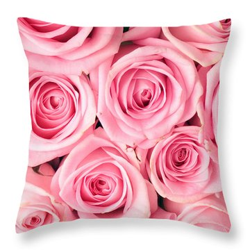 Pink Roses Throw Pillow by Munir Alawi