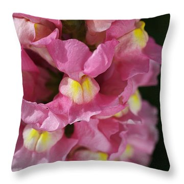 Pink Snapdragon Flowers Throw Pillow