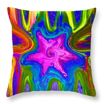Throw Pillow featuring the painting Pink Snowflake by Dan Redmon