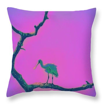 Pink Spoonbill Throw Pillow by David Mckinney