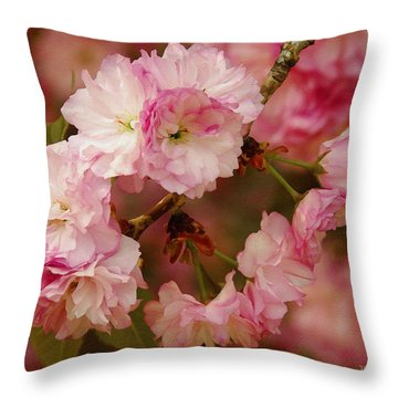 Pink Spring Blossoms Throw Pillow