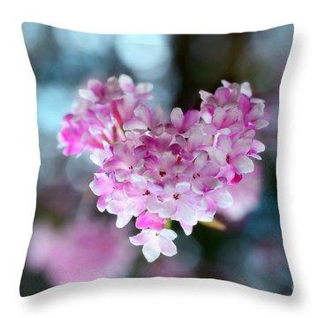 Pink Spring Heart Throw Pillow