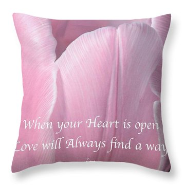 Pink Spring Tulip Throw Pillow