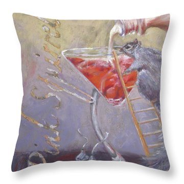 Pink Squirrel Throw Pillow
