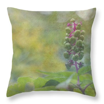 Pink-stemmed Plant Throw Pillow