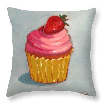 Pink Strawberry Cupcake Throw Pillow