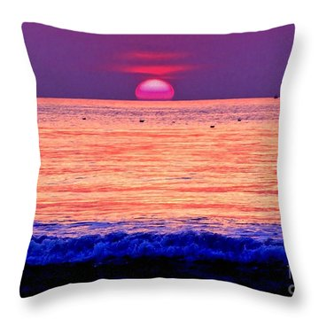 Pink Sun Throw Pillow by Nina Ficur Feenan