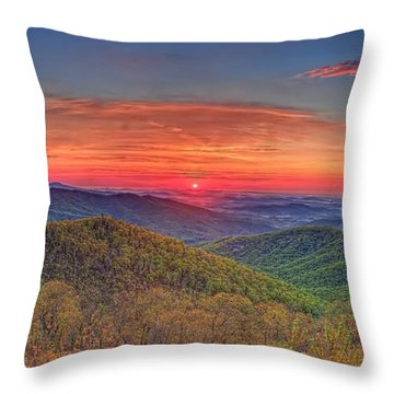 Pink Sunrise At Skyline Drive Throw Pillow