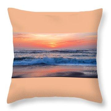 Pink Sunrise Panorama Throw Pillow by Kaye Menner