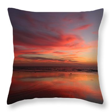 Throw Pillow featuring the photograph Ocean Sunset Reflected  by Christy Pooschke