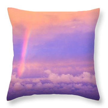 Throw Pillow featuring the photograph Pink Sunset Rainbow by Peta Thames