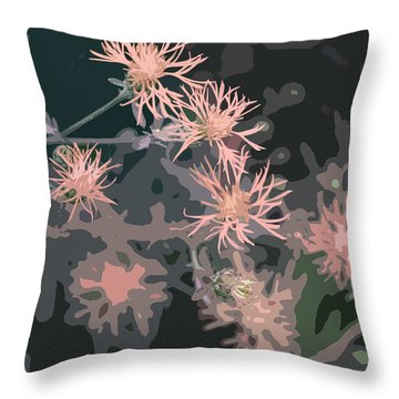Pink Thistle Abstract Throw Pillow