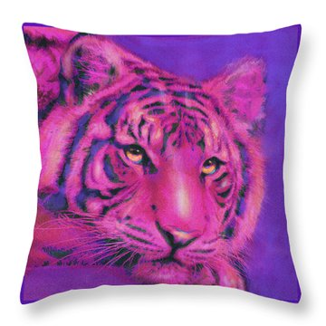 Throw Pillow featuring the digital art Pink Tiger by Jane Schnetlage