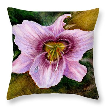 Throw Pillow featuring the painting Pink Tiger Lily Flower by Nan Wright