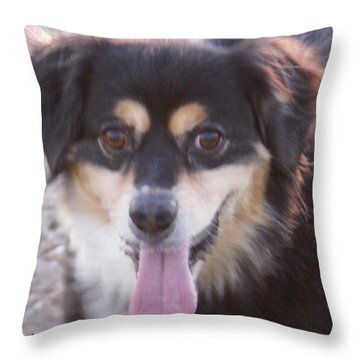 Pink Tongue Throw Pillow by Barbara Snyder