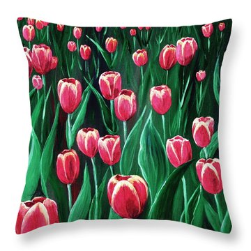 Pink Tulip Field Throw Pillow by Anastasiya Malakhova