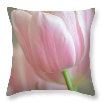 Pink Tulip Floral Throw Pillow