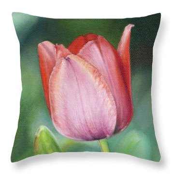 Pink Tulip Throw Pillow