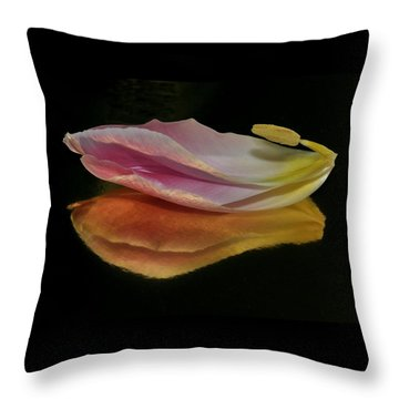 Pink Tulip Petal Reflected On Black Throw Pillow