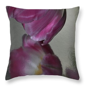 Pink Tulip Reflected In Silver Water Throw Pillow
