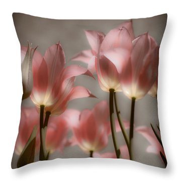 Pink Tulips Glow Throw Pillow by Michelle Joseph-Long