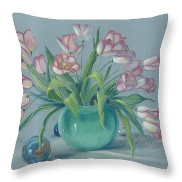 Throw Pillow featuring the painting Pink Tulips In Green Vase by Dan Redmon