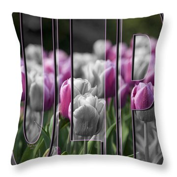 Pink Tulips Throw Pillow by Trish Tritz