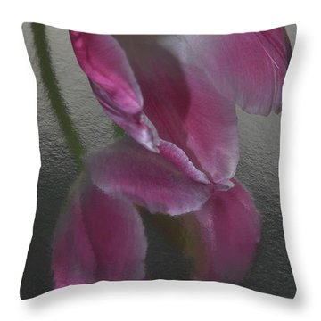 Pink Tulip Reflection In Silver Water Throw Pillow