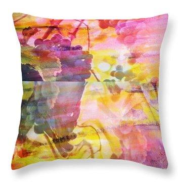Pink Vineyard Plumps Throw Pillow by PainterArtist FIN