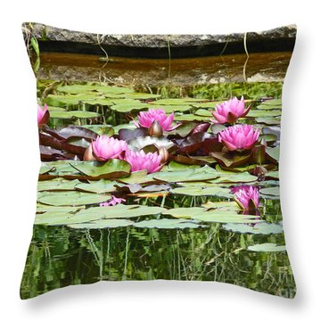 Pink Water Lilies Throw Pillow