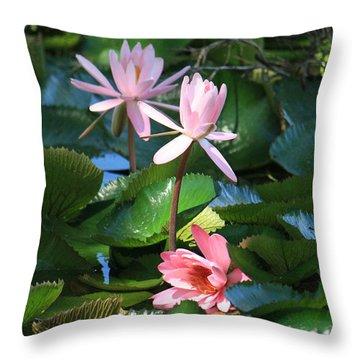 Pink Water Lillies Throw Pillow