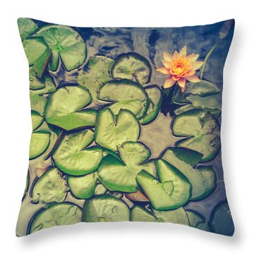 Pink Water Lily And Pads Throw Pillow