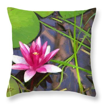 Throw Pillow featuring the painting Pink Water Lily by Doug Kreuger