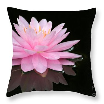 Pink Water Lily In A Dark Pond Throw Pillow