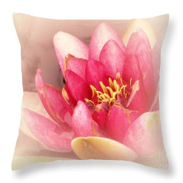 Throw Pillow featuring the photograph Pink Waterlily Pastel by Margaret Newcomb