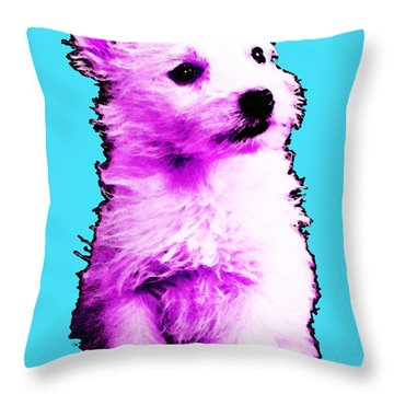 Pink Westie - West Highland Terrier Art By Sharon Cummings Throw Pillow by Sharon Cummings