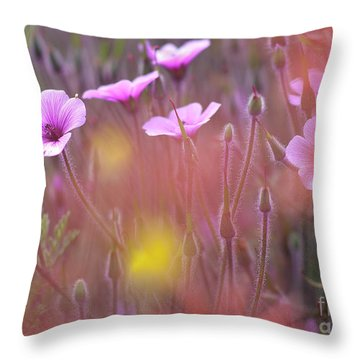 Pink Wild Geranium Throw Pillow