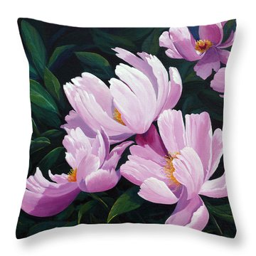 Pink Windflower Peonies Throw Pillow by Karen Mattson