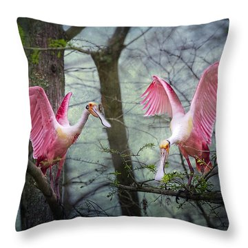 Pink Wings In The Swamp Throw Pillow by Bonnie Barry